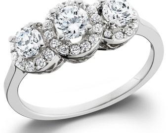 Diamond 1.00CT Pave Halo Three Stone Ring 14K White Gold