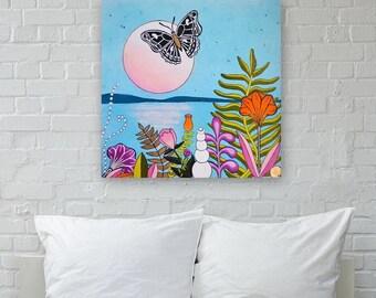 Moon Medicine | Moonrise over water | Mystical art | Yoga Inspired