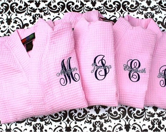 SET OF 4 - Monogrammed  Robes - Waffle Weave Robe - Bridesmaid Gifts - Wedding Party Gift - Aqua, Pink, Green, Brown, Black, White