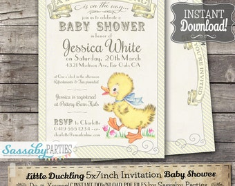 Little Duckling Baby Shower Invitation - INSTANT DOWNLOAD -  Partially Editable & Printable Yellow Duck, Duckling, Baby Shower Invite