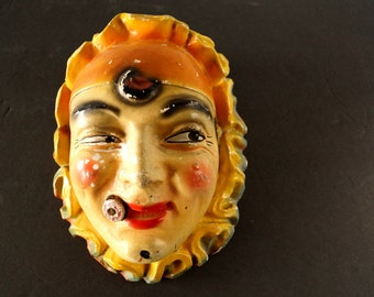 Vintage Smoking Clown Chalkware String Holder Face with Cigar (c.1940s) - Unique Collectible, Mystic French Mime Clown Oddity, Quirky Gift