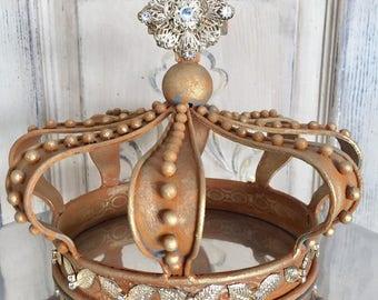 Metal crown, rusty crown, crown decor, shabby chic crown, crown cake topper, rusted metal, rustic decor, Mediterranea Design Studio, crown