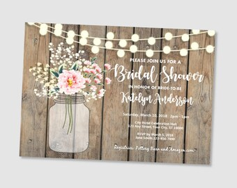 Rustic Bridal Shower Invitation, Wood & String Of Lights Bridal Shower Invitations, Baby's Breath Mason Jar Bridal Shower Invitation
