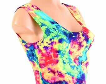 Neon UV-Leuchten Säure Splash Print Rundhalsausschnitt Ernte oben Festival Clubwear Rave EDM 154255