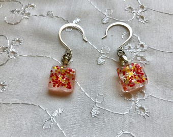 Orange Yellow Glitter Glass Dangle Earrings Doodaba