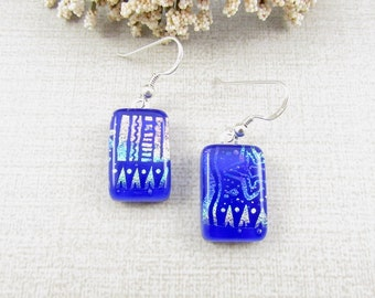 Blue Fused Dichroic Glass Earrings - Fused Glass Drop Earrings with Sterling Silver Ear Wire - Dichroic Glass Earrings - Dichroic Jewelry