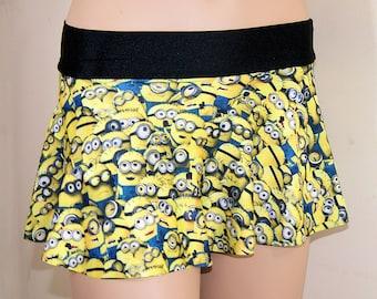 Minions Blue Yellow Cartoon Circle Twirl Skirt Adult XSMALL Junior- MTCoffinz - Ready to ship