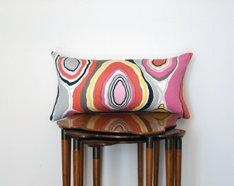 Graphic Wood Grain Print Pillow Cover, in Pink, Yellow, Black + White