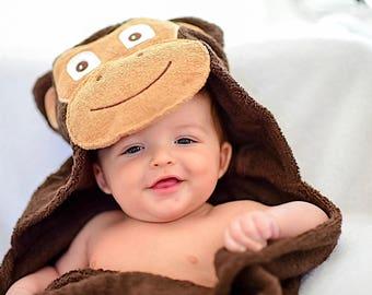 Yikes Twins BABY Monkey  hooded towel
