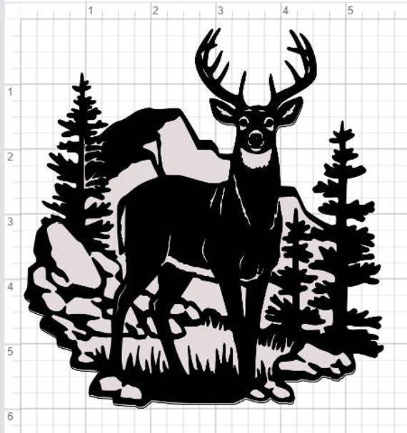 Download Buck Deer Scene Design SVG pdf eps dxf Studio 3 Cut Files