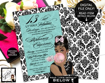 """13 and Utterly Fabulous Birthday Invitation - Audrey Hepburn Inspired Party Invites, Printable Invite, African American, 5x7"""" Double Sided."""
