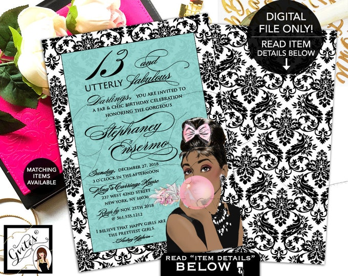 "13 and Utterly Fabulous Birthday Invitation - Audrey Hepburn Inspired Party Invites, Printable Invite, African American, 5x7"" Double Sided."