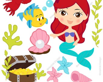 Mermaid Clipart, Fairytale Clip Art, Cute Princess Mermaids, Girls Graphics for Party Invitations Scrapbook INSTANT DOWNLOAD CLIPARTS C123