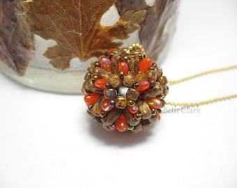 Fall Brick Dodecarizo beaded bead pendant