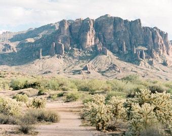 Superstition Mountain print, Lost Dutchman mountain vista fine art print, Arizona desert photo print, Arizona print, Southwestern decor