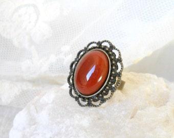 carnelian ring bohemian ring bronze ring gemstone ring boho ring boho jewelry adjustable ring