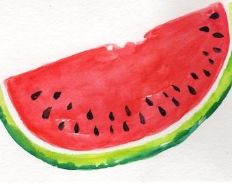 watercolor painting, Watermelon, Modern minimalist, 4 x 6 original painting watermelon illustration, kitchen art decor, illustration