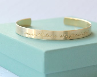 Nevertheless She Persisted Bracelet - Personalized Bracelet - Nevertheless She Persisted Jewelry - Persist - Feminist - Womens Rights -
