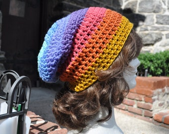Multicolored Striped Crocheted Beanie, Slouchy Hat