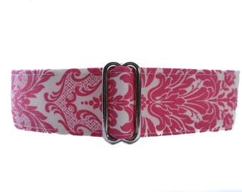 Martingale Dog Collar, Pink Martingale Collar Greyhound, Saluki Collar, Hot Pink Dog Collar, Large Dog Collar, Greyhound Martingale