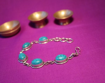 """015# """"Tamaya"""" armlet with turquoise, length: 21 cm"""