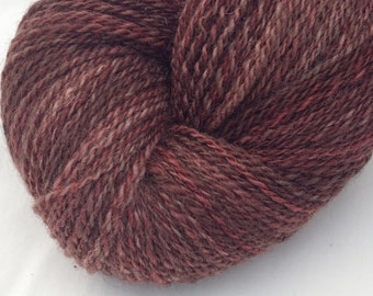 Hand Dyed Handspun Yarn, 2 Ply Sportweight BFL/Tussah Silk, 348y in Black Forest Cake