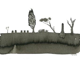 Tree Series - Pioneer Cemetery - Original ink drawing