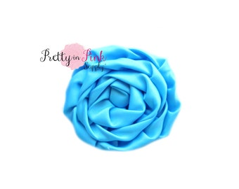 Bright Blue Isabella Collection Ruffled Rosettes- Choose Quantity- Rolled Rosettes- Rolled Rosettes- Rosettes- Flower- Supply- DIY Headband