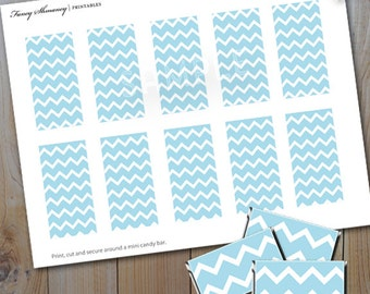Mini Candy Bar Wrappers / Instant Download /Blue Chevron Printable Candy Wrapper / PRINTABLE / 204