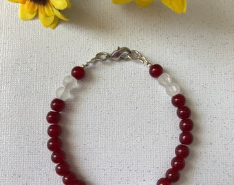Red with a touch of Class Glass Round Bead Bracelet  -  Ladies