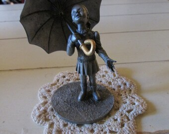 Pewter Figure Girl with Umbrella