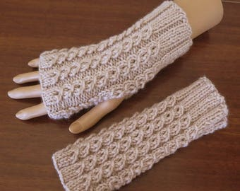 Beige Fingerless Gloves, Wool Cable Gloves, Texting Gloves, Fingerless Mitts, Beige Knit Arm Warmers