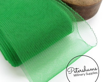 15cm (6 inch) Wide Crinoline (Crin, Horsehair Braid) for Hats, Millinery, and Fascinators - Emerald Green