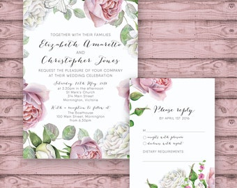 Floral Wedding Invitation Suite - Print at Home Files or Printed Invitations - Pink White Roses Personalised Wedding Suite - Calligraphy