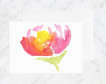 Floral Watercolor Card - Friendship Card - Thinking of You Card - Blank Card - Pink Flower Card - Birthday Card - Flower Card - Just Because