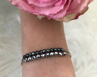 Bracelet, double chains, stainless steel, chrome beads, black beads, woman
