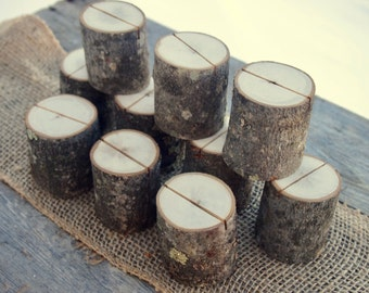 10 Rustic PLACE CARD Holders - Natural Wedding Table Decor - Table Number Holders