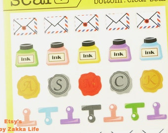 Paper and Translucent Die Cut Deco Sticker Set - Stationary - 2 Sheets