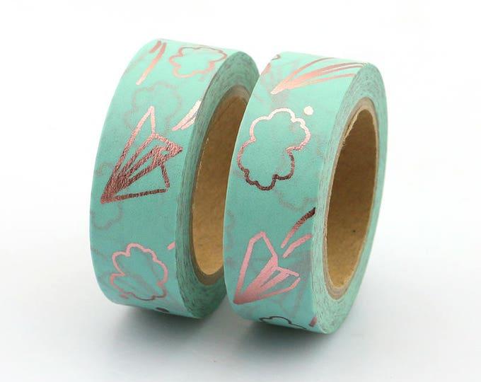 Washi Tape - Foil Washi Tape - Rose Gold Mint Paper Airplane Clouds Foil Washi Tape - Paper Tape - Planner Washi Tape - Washi - Tape