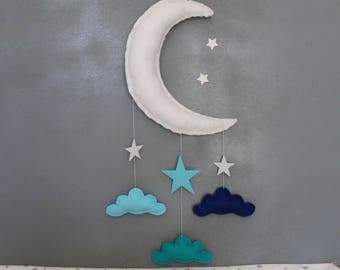 """Mobile """"Moon white and blue clouds"""""""