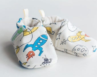 Organic Knits Rockets / All Fabric Soft Sole Baby Shoes / Made to Order / Babies