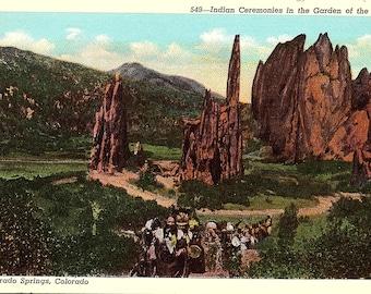 Garden of the Gods, Indian Ceremonies, Colorado Springs, Colorado - Postcard - Vintage Postcard - Unused (CC)