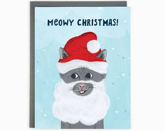 Santa Cat Holiday Card - Meowy Christmas!