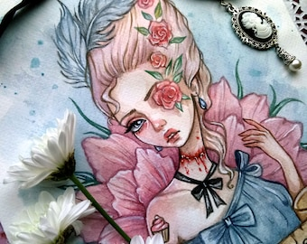 Maria Antoinette original watercolor illustration
