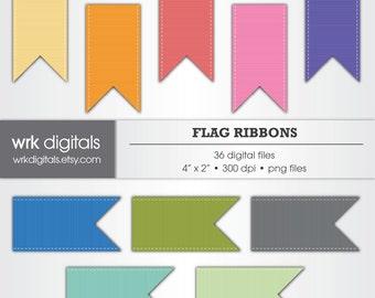 Flag Ribbon Clip Art Digital Pack, Digital Scrapbooking, Instant Download, Scrapbook Embellishments