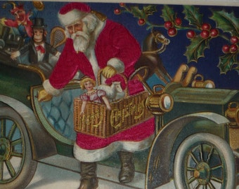 Santa Claus in Red Silk Suit Exiting Car Loaded With Toys Antique Christmas Postcard