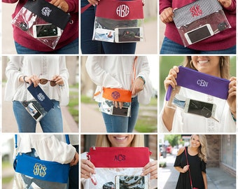 Monogrammed Clear Zip Pouch, Personalized Clear Stadium Crossbody, Game Day Bag, Stadium Crossbody, Clear Bag, Graduation Gift, Great Gifts