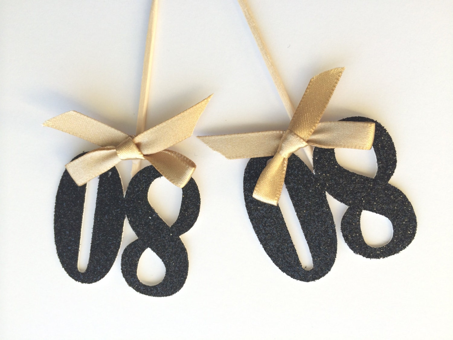 6 Black Glitter Number Cupcake Topper With Gold Bow 80th
