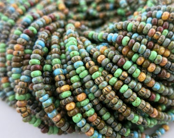 8/0 Verdant Picasso Seed Bead Mix, Full Strand 250 Beads, Czech Glass Seed Beads