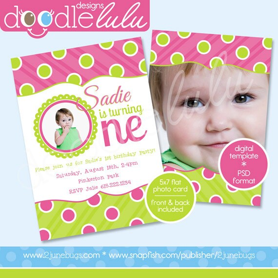 Sample Of Invitation Card For Christening And 1st Birthday. 1st Birthday Photo Card Invitation Template  Girl Pink Green Polka Dots First PRINTABLE INSTANT DOWNLOAD
